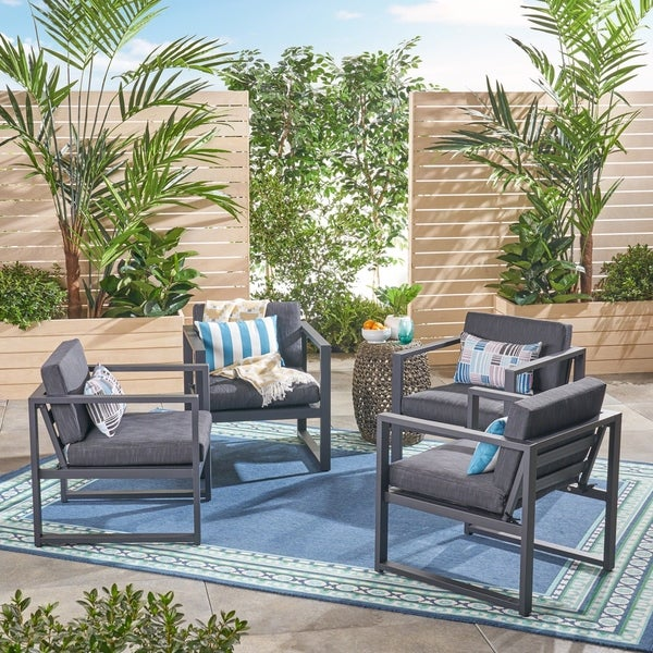 Shop Navan Outdoor Aluminum Club Chairs Set Of 4 By Christopher