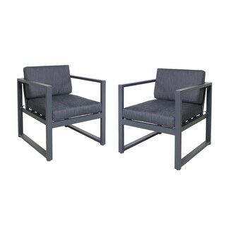 Navan Outdoor Aluminum Club Chairs (Set of 2) by Christopher Knight Home