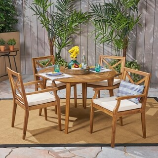 Pines Outdoor 5 Piece Acacia Wood Dining Set with Cushions by Christopher Knight Home