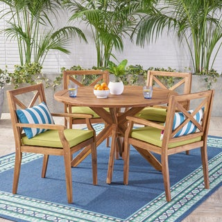 Pines Outdoor 5 Piece Acacia Wood Dining Set with Cushions by Christopher Knight Home (Option: Green/Teak)