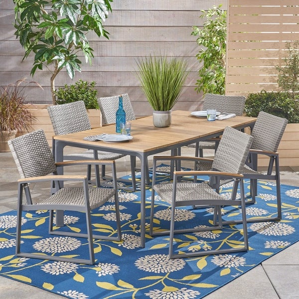 Westcott Outdoor 7 Piece Aluminum and Wicker Dining Set with Wood Top by Christopher Knight Home