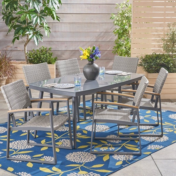 Manchester Outdoor 7 Piece Aluminum and Wicker Dining Set with Glass Top by Christopher Knight Home