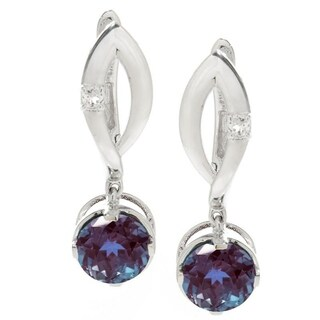 Sterling Silver Color Changing Alexandrite & White Topaz Dangling Earring