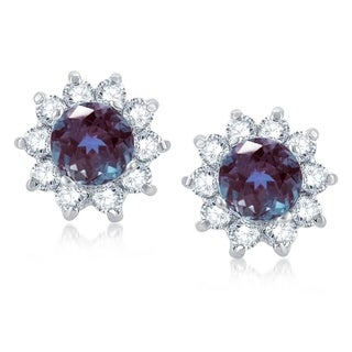 Sterling Silver Color Changing Alexandrite & White Topaz Flower Stud Earring