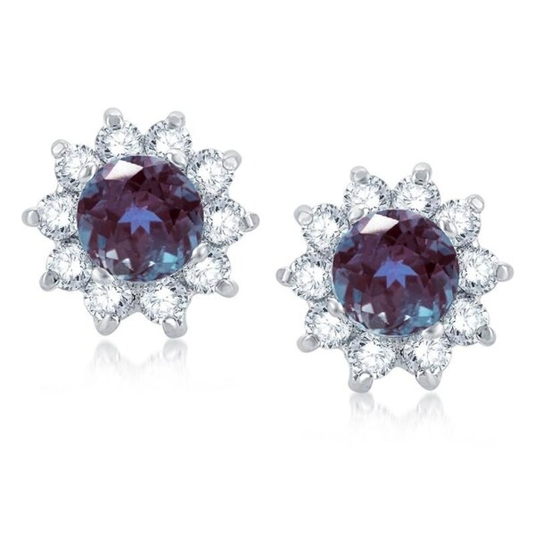 7139f2112 Sterling Silver Color Changing Alexandrite & White Topaz Flower Stud  Earring