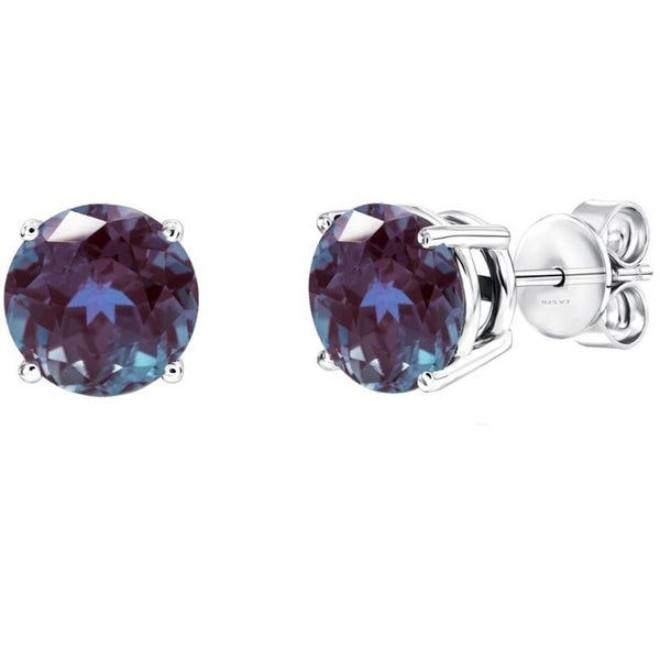 Sterling Silver Color Changing Alexandrite Round Stud Earring