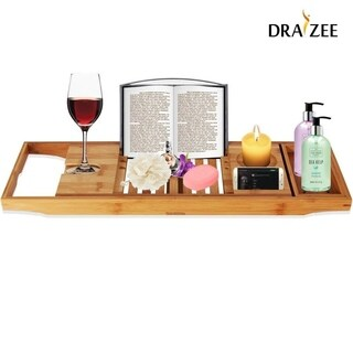 Draizee Luxury Bamboo Adjustable Bathtub Caddy Natural, Wood Brown