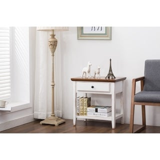 Porthos Home Side Table,Deluxe End Table with Drawer Shelf for Bedroom