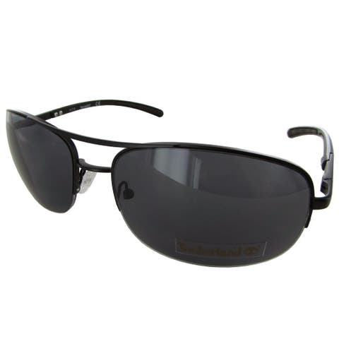 Timberland Mens TB7113 Rimless Fashion Sunglasses, Black/Smoke