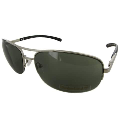 Timberland Mens TB7113 Rimless Fashion Sunglasses, Silver/Green