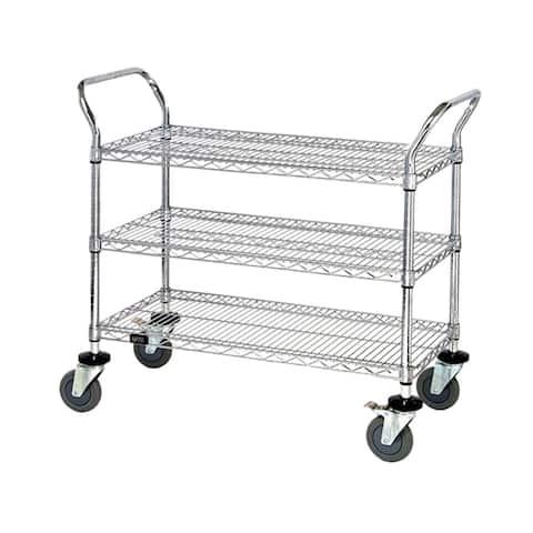 "Quantum 3 Wire Shelf Mobile Utility Cart 18""W x 42""L x 37-1/2""H - Chrome"