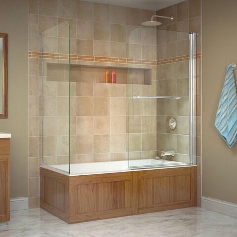 DreamLine Aqua Swing 56-60 in. W x 30 in. D x 58 in. H Frameless Tub Door with Return Panel in Chrome