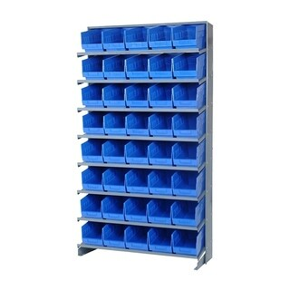 "Quantum Storage Systems Blue Store More Single Sided Pick Rack System 12"" x 36"" x 60"" - 40 QSB202 6"" Shelf Bin"