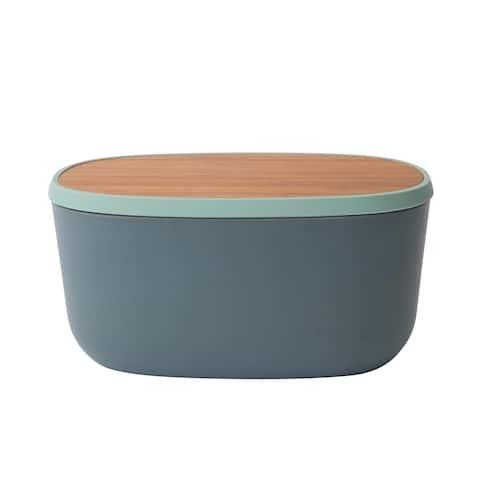 Leo Bamboo Bread Box with Cutting Board, Grey & Mint