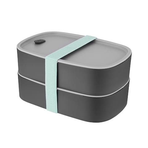 Leo 3pc Dual Bento Box Set /Strap, Gray & Mint