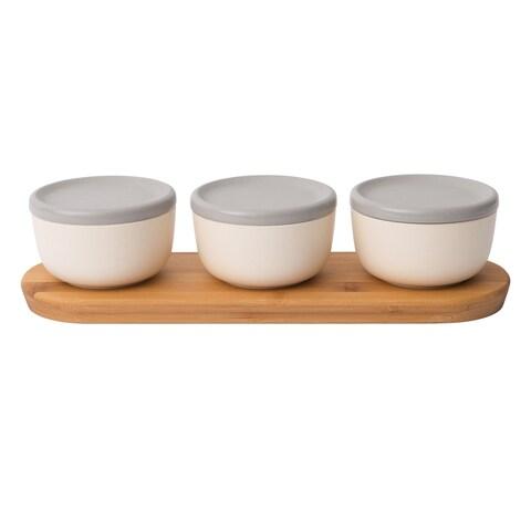 Leo 6pc Covered Bowl Set w/ Bamboo Tray, White