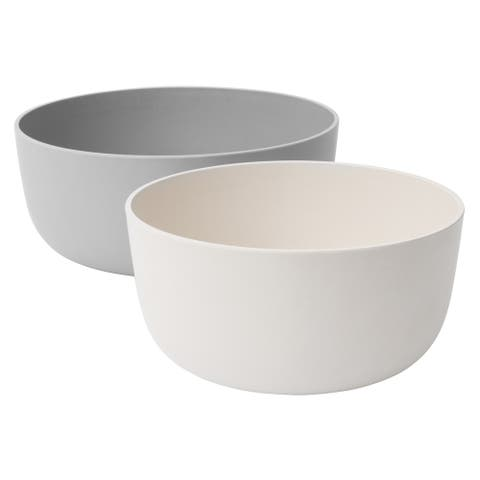 Leo 2pc Serving Bowl Set, White & Gray