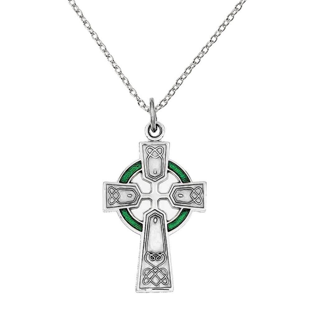 18-Inch Rhodium Plated Necklace with 4mm Amethyst Birthstone Beads and Sterling Silver Cross Holy Spirit Charm.