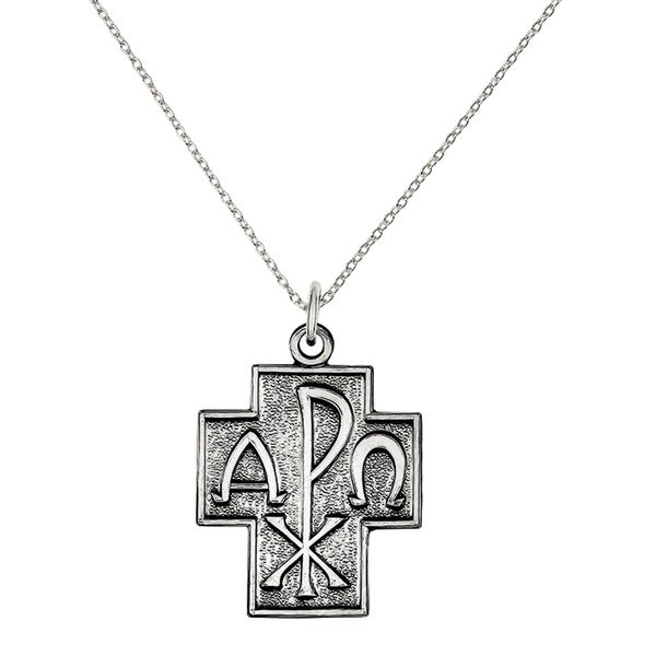 Shop Versil Sterling Silver Antiqued Alpha Omega Cross Pendant With