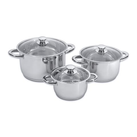 Essentials Prima SS 6pc Cookware Set, Glass Lids