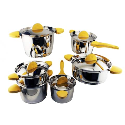 Stacca 18/10 SS 11pc Cookware Set, Yellow