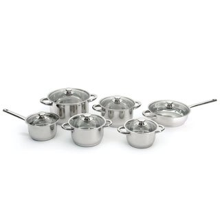 Essentials Premium 18/10 SS 12pc Cookware Set, Glass Lids