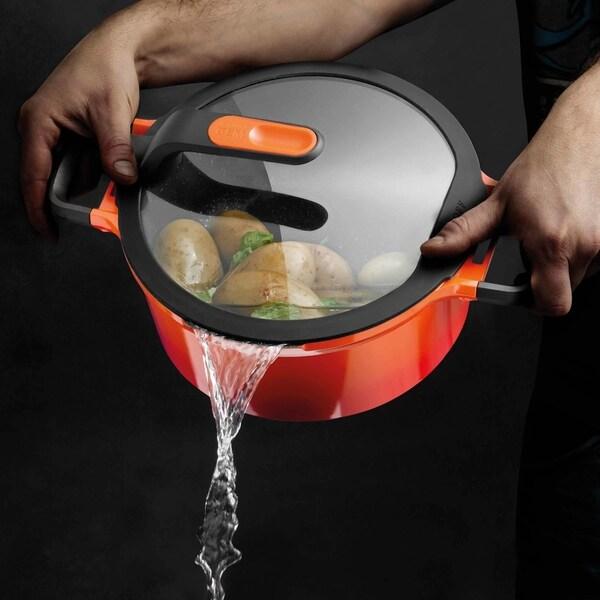 "GEM Cast Alum Non-Stick 6.25"" Covered Sauce Pan, Caribbean Red 1.6qt. Opens flyout."