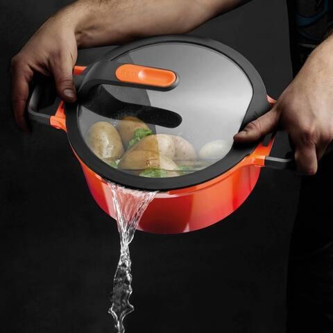 "GEM Cast Alum Non-Stick 6.25"" Covered Sauce Pan, Caribbean Red 1.6qt"