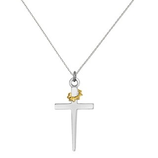 Versil Sterling Silver Rhodium Plated And 18 Karat Gold Plated Cross Pendant With 18 Inch Chain