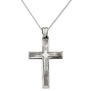 Versil Sterling Silver Antiqued, Polished and Brushed Latin Cross Pendant with 18-inch Chain