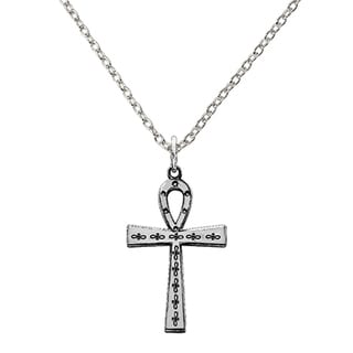 Versil Sterling Silver Laser Designed Cross Pendant With 18 Inch Chain
