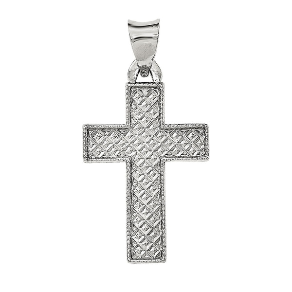 Brushed and Polished Latin Cross Pendant Sterling Silver Textured