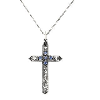Versil Sterling Silver September Birthstone Cross Pendant With 18 Inch Chain