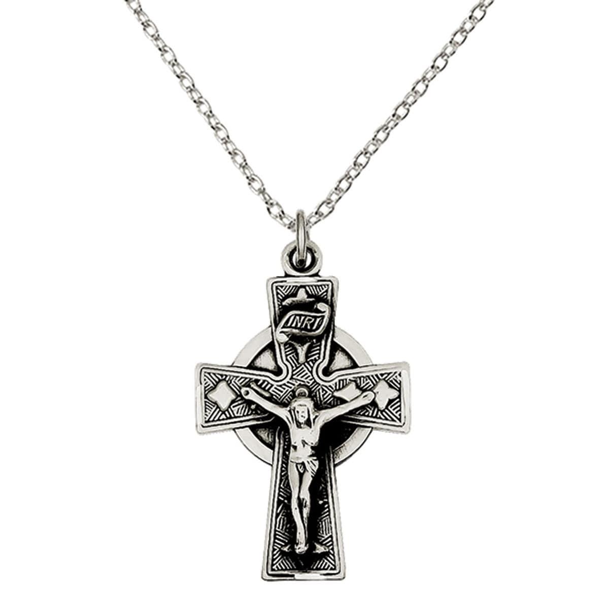 Sterling Silver Antiqued Satin Irish Crucifix Cross Pendant
