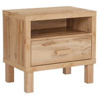 Natural Wood 1-drawer Nightstand with Open Storage