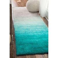 nuLOOM Turquoise Handmade Soft and Plush Ombre Shag Area Rug - 2'6 x 10'