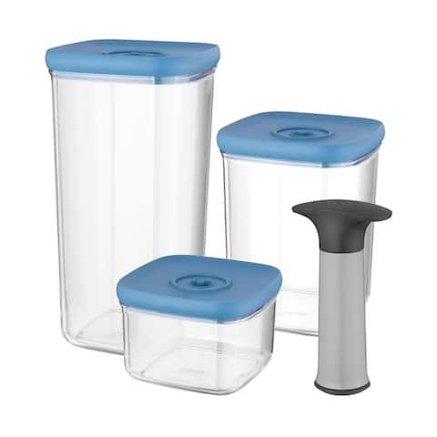 Leo Vacuum Food Container Set (4x), Blue