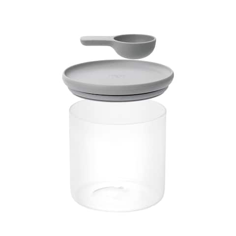 "Leo Glass Food Container/Spoon, 5""x5"", Gray"