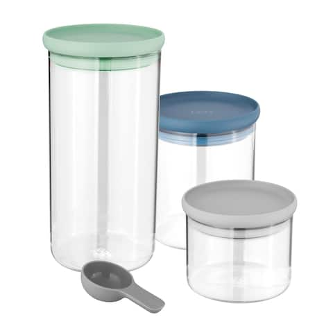 Leo Glass Food Container Set (3x), Grn, Blue, Gray