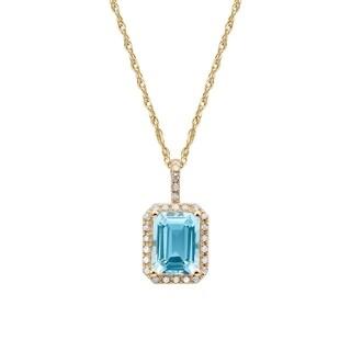 Viducci 10k Yellow Gold Blue Topaz and Diamond Halo Necklace