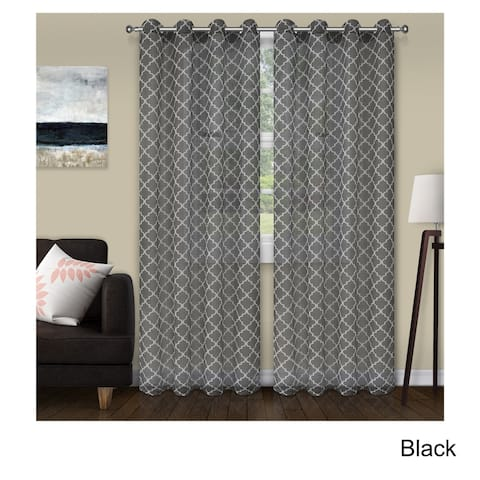 Superior Printed Trellis Sheer Grommet Curtain Panel Pair
