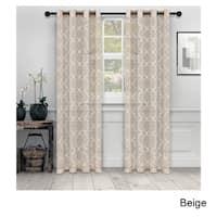 Superior Embroidered Quatrefoil Sheer Grommet Curtain Panel Pair