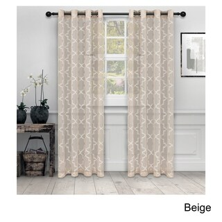 Superior Embroidered Quatrefoil Sheer Grommet Curtain Panel Pair
