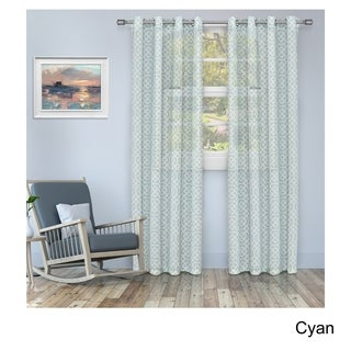 Superior Printed Honey Comb Sheer Grommet Curtain Panel Pair (More options available)