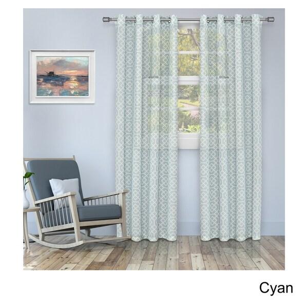 Superior Printed Honey Comb Sheer Grommet Curtain Panel Pair