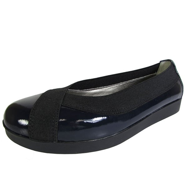 Shop Me Too Womens Barbara Platform Flat Shoe, Navy Patent ...