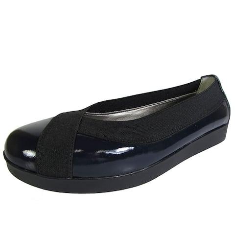 Me Too Womens Barbara Platform Flat Shoe, Navy Patent