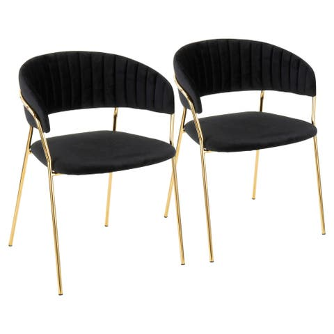Silver Orchid Desni Contemporary Glam Chair (Set of 2) - N/A