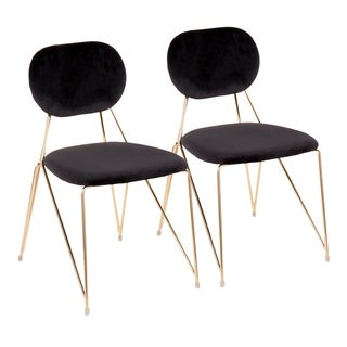 Gwen Contemporary-Glam Chair in Metal and Velvet Upholstery (Set of 2)