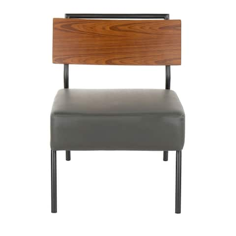 Fiji Contemporary Accent Chair in Faux Leather with Walnut Wood Accent